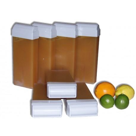 7 recharges roll on de 100 ml. Cire jetable AGRUMES MIEL naturelle et bio