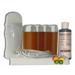 Kit épilation, chauffe cire 4 x 100 ml MIEL AGRUMES - Bandes, Cire à épiler, Huile