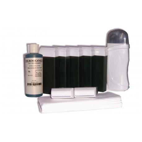 Kit d'épilation 7 x 100 ml cire à épiler Chlorophylle, bandes, huile