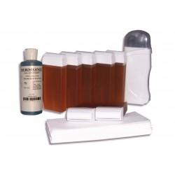 Kit épilation 7 x 100 ml cire à épiler TOPAZ type MIEL, bandes, huile
