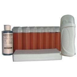 Kit épilation 7 x 100 ml cire à épiler rose, bandes lisses, huile
