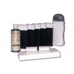 Kit épilation - 7x100 ml cire à épiler AZUR, bandes lisses, huile