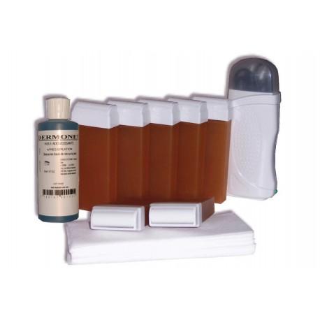 Kit d'épilation 7 x 100 ml cire à épiler MIEL, bandes, huile