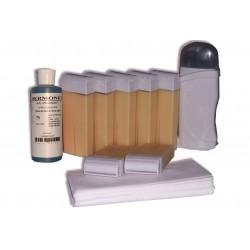 Kit d'épilation - 7x100 ml cire à épiler NACREE, bandes lisses, huile