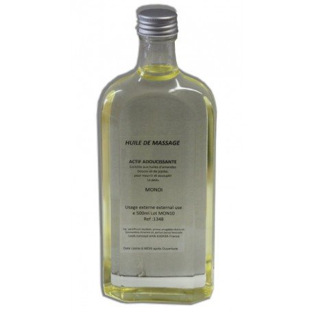 Huile adoucissante de massage pour le corps parfum Monoï, flacon de 500 ml