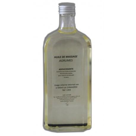 Huile adoucissante de massage parfumée Agrumes, flacon de 500 ml