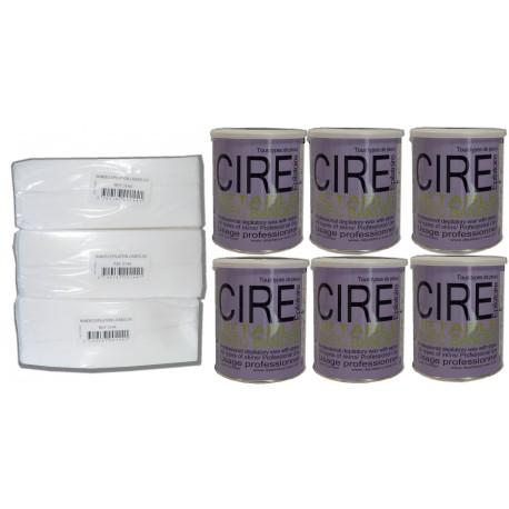 Pack Fushia - 6 Pots cire à épiler 800 ml + 750 bandes