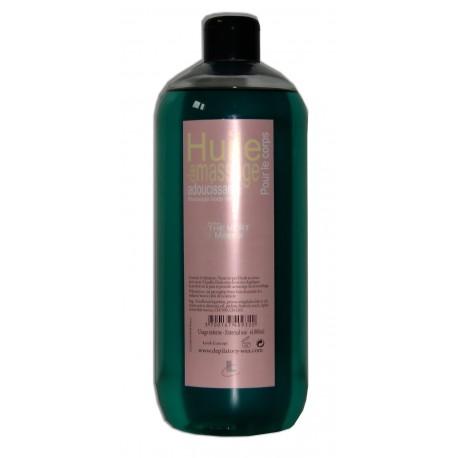 Huile adoucissante de massage, parfum, Thé vert, 1 litre. Pour le corps.