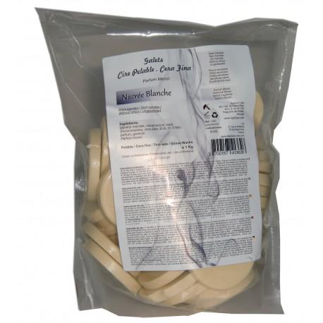 nacrée blanche - 1kg Galets de cire à épiler Pelable